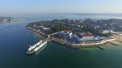 sandbanks aerial point ferry docked and unloading pan