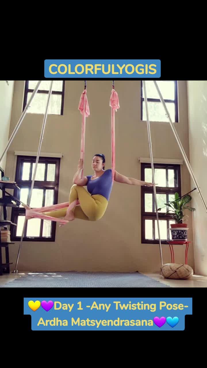 💛💜Day 1 -Any Twisting Pose- Ardha Matsyendrasana💜💙  COLORFULYOGIS