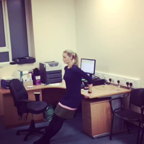 desk workout 2. 1- x10 lunges with right foot on chair