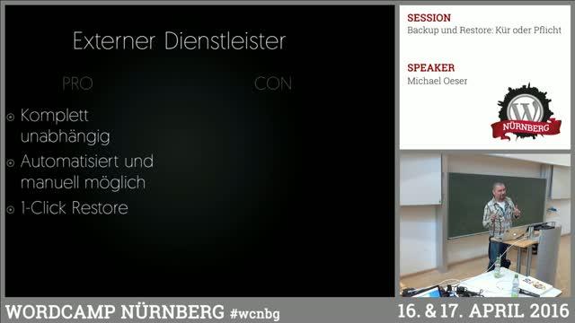 Michael Oeser: Backup und Restore - Kür oder Pflicht