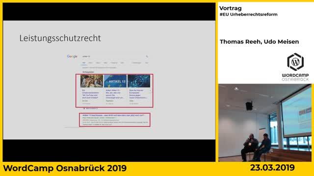 Thomas Reeh, Udo Meisen: EU Urheberrechtsreform