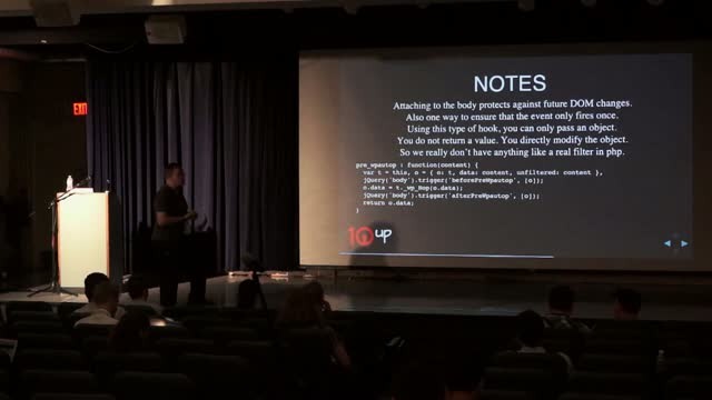 Luke Gedeon: JavaScript Actions And Filters in Core: Hooked On JavaScript Works For Me!