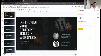 Chandra Patel, Imran Sayed: Improving Your Debugging Skills In WordPress.