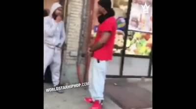 Dude Gets Dropped With A Slap In Front Of A Chinese Restaurant!