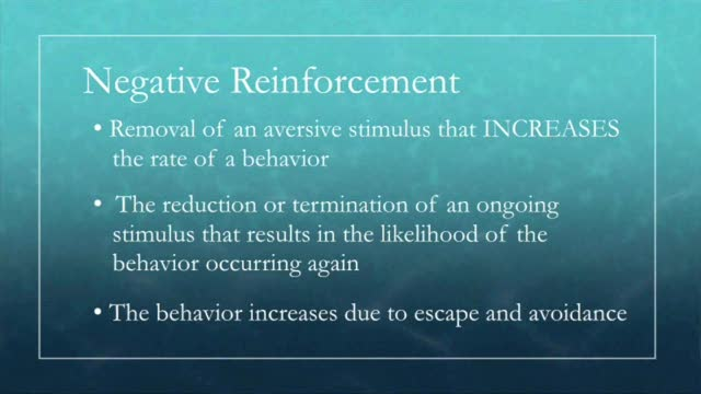 the importance of positive reinforcement as opposed to negative reinforcement in wang an yis story b