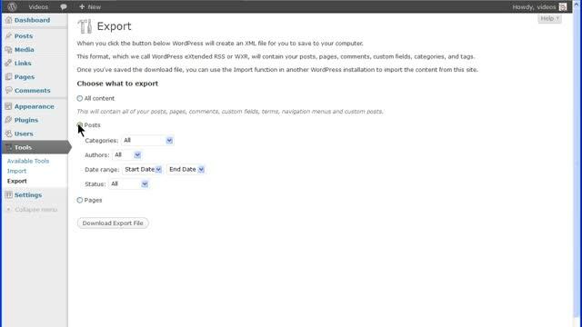 WordPress Export Tools