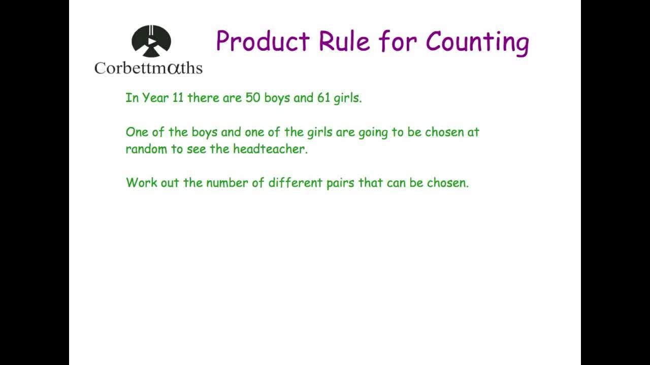 worksheet Product Rule Worksheet product rule for counting corbettmaths
