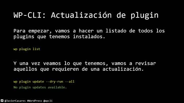 Javier Casares: WP-CLI para hacer mantenimiento semanal de tu sitio