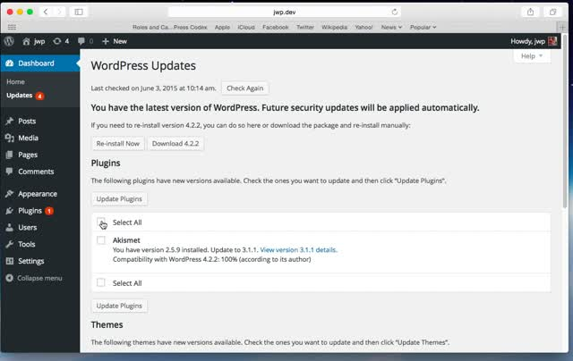 WordPress Dahboard Updates