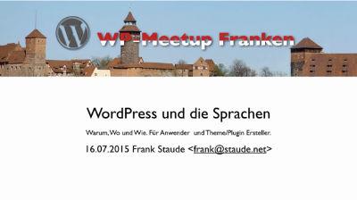Frank Staude: WordPress und die Sprachen