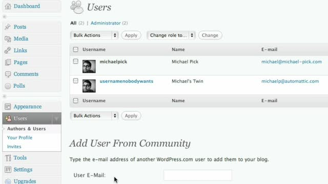 Adding users to your blog (or removing them)