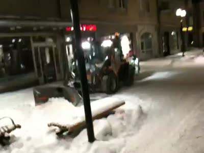 Snö plogen ljus krok upp