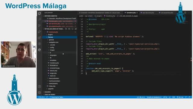 David Pérez: +150 snippets de WordPress a un clic con Visual Code