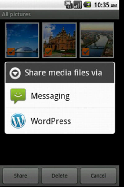 WordPress for Android 1.3.6 - Media Upload