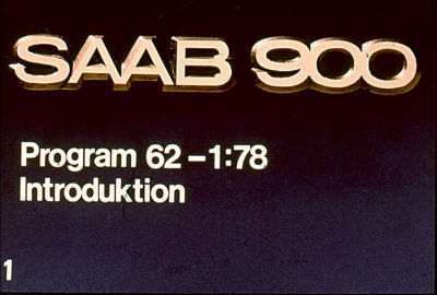 Saabvisionen Band 62 Saab 900 Introduktion