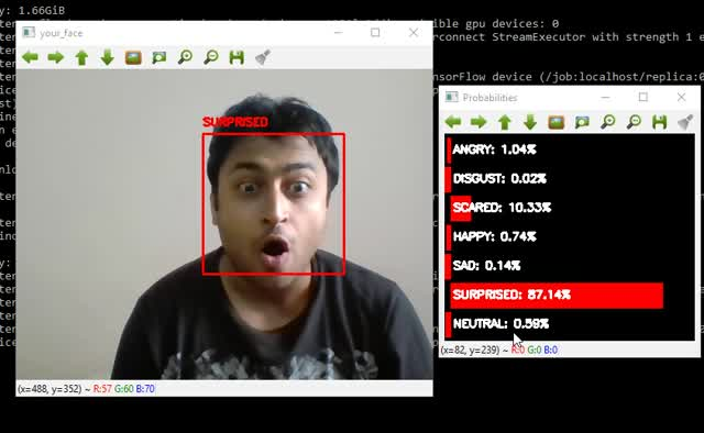 Demonstration of Facial Emotion Recognition on Real Time Video Using