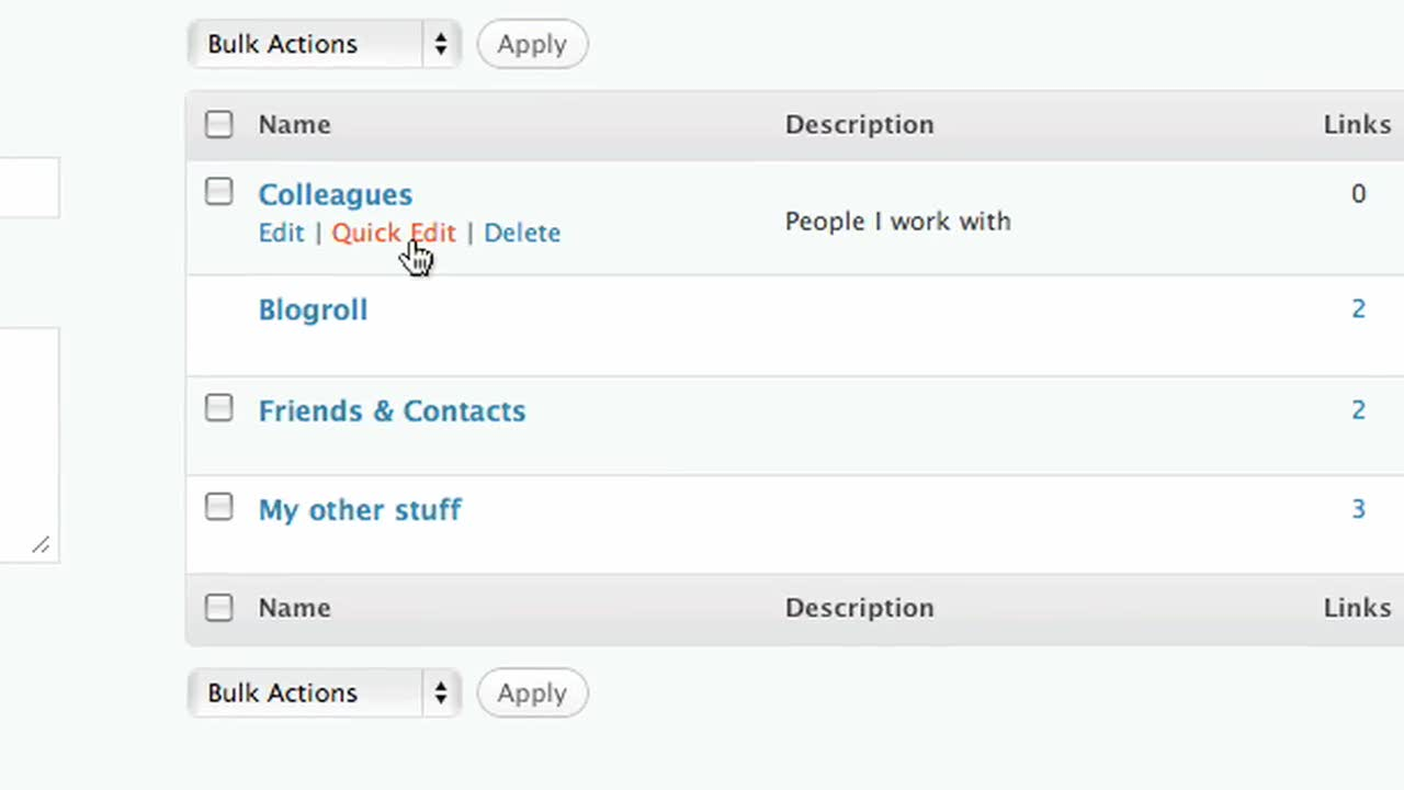 Organize Your Blogroll with Link Categories | Blogging 2 Learn