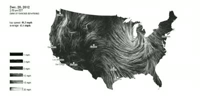 Wind Map With Speed Direction For Lower US States Hans Howe - Us wind direction map