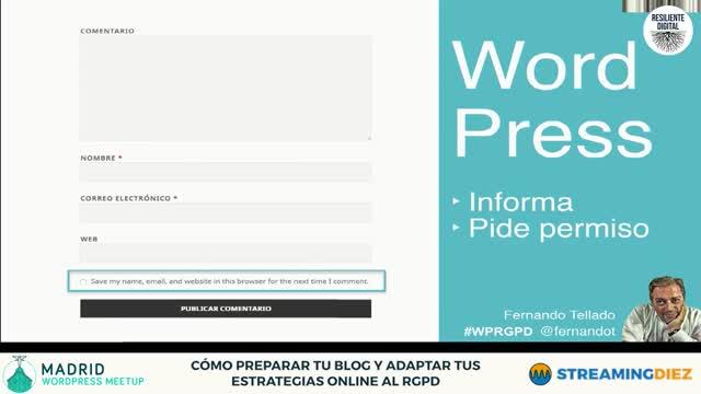 Fernando Tellado y Marina Brocca: Cómo preparar tu blog y adaptar tus estrategias online al RGPD