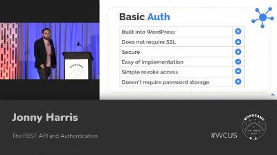 Jonny Harris: The REST API and Authentication