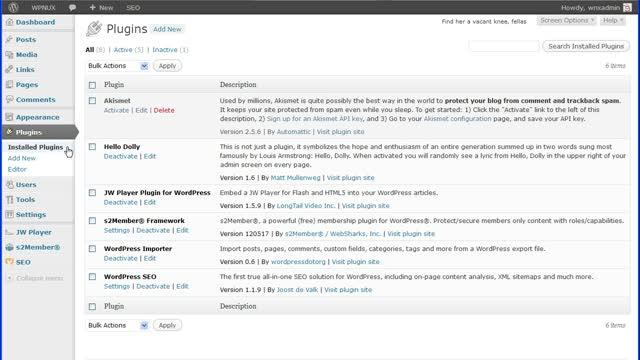 WordPress Installed Plugins