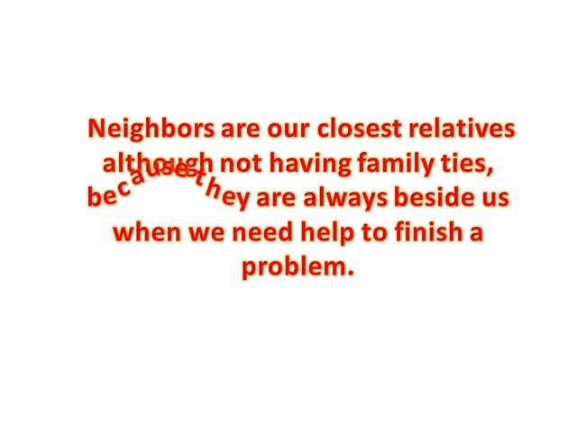 Qualities of good neighbor