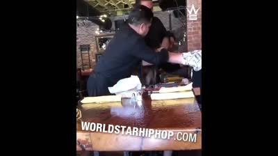 Woman Catches Her Man On A Date With His Side Chick & Puts Hands On Both Of Them!