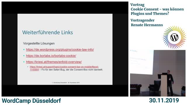 Renate Hermanns: Cookie Consent – was können Plugins und Themes?
