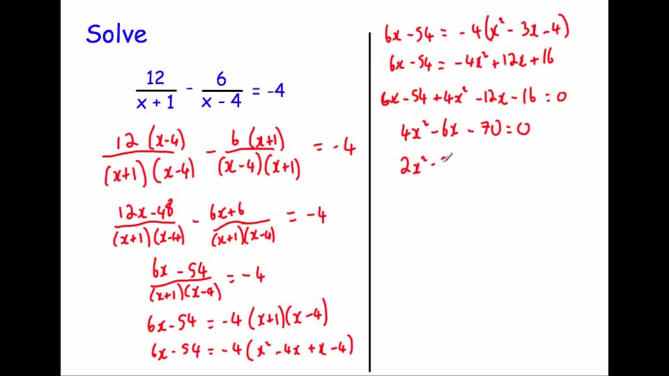 Equations Involving Algebraic Fractions Advanced Corbettmaths